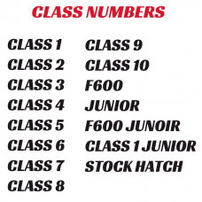 Autograss Class Numbers ONLY