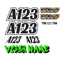 Autograss FULL Race Number / Name Graphics Stickers set