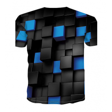 Color Block sublimated 3D T-Shirt (BLUE)