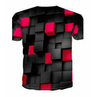 Color Block sublimated 3D T-Shirt (RED)