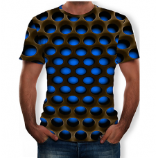Men's Casual Color Block  3D Print Round Neck BLUE T-Shirt