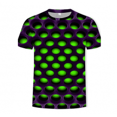 Men's Casual Color Block  3D Print Round Neck GREEN T-Shirt