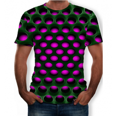 Men's Casual Color Block  3D Print Round Neck PURPLE T-Shirt