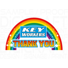 THANK YOU KEY WORKERS RAINBOW STICKERS