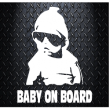Baby On board wearing  hoodie Decal 100 X 130 Vinyl Decal Sticker