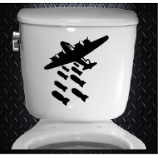 Bombs away 250mm x 275mm Vinyl Decal Toilet Sticker