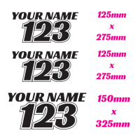 MOTOCROSS / DIRT BIKE RACE NUMBER SET WITH NAME TOP