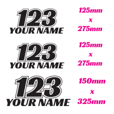 MOTOCROSS / DIRT BIKE RACE NUMBER SET WITH NAME BOTTOM