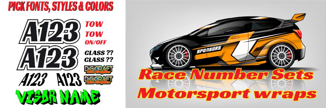 Race Number Sets & Motorsport Wraps